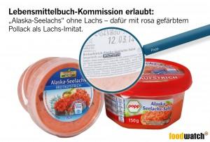"""Auch wenn der Name und die Farbe den Anschein erwecken: Der sogenannte Alaska-Seelachs ist kein Lachs und noch nicht einmal damit verwandt. Die Deutsche Lebensmittelbuch-Kommission erlaubt, dass Hersteller die kostengünstigere Fischart Pollack lachsähnlich einfärben und als """"Alaska-Seelachs"""" verkaufen."""