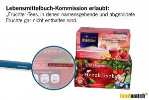 """Aromatisierte """"Früchte""""-Tees werben gern mit vielversprechenden Abbildungen von Früchten auf der Vorderseite der Verpackung. Die Leitsätze der Deutschen-Lebensmittelkommission lassen jedoch zu, dass die angepriesenen Früchte gar nicht oder nur zu einem verschwindend geringen Teil enthalten sind. Nicht einmal die namensgebende Frucht muss sich im Teebeutel wiederfinden. Stattdessen werden oft billigere Alternativen eingesetzt und der Geschmack der beworbenen Früchte durch Aromen imitiert."""