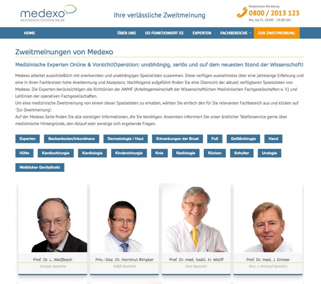 www.medexo.com/experten - screenshot medexo-website