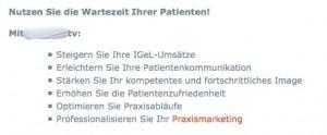 Beispiel für IGeL - Vermarktung in der Arztpraxis