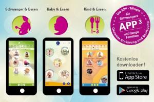 """Die App-Trilogie """"Schwanger & Essen"""", """"Baby & Essen"""" sowie """"Kind & Essen"""" sind kostenlos im Apple-Store und Google Play Store zum Download verfügbar."""
