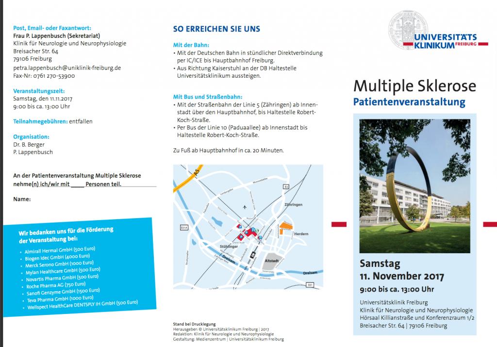 1. Seite Flyer zur Veranstaltung Multiple Sklerose