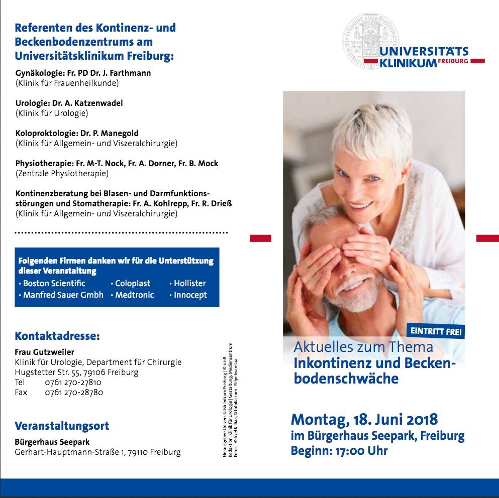 Programm-Flyer Patientenforum Beckenbodenschwäche und Inkontinenz