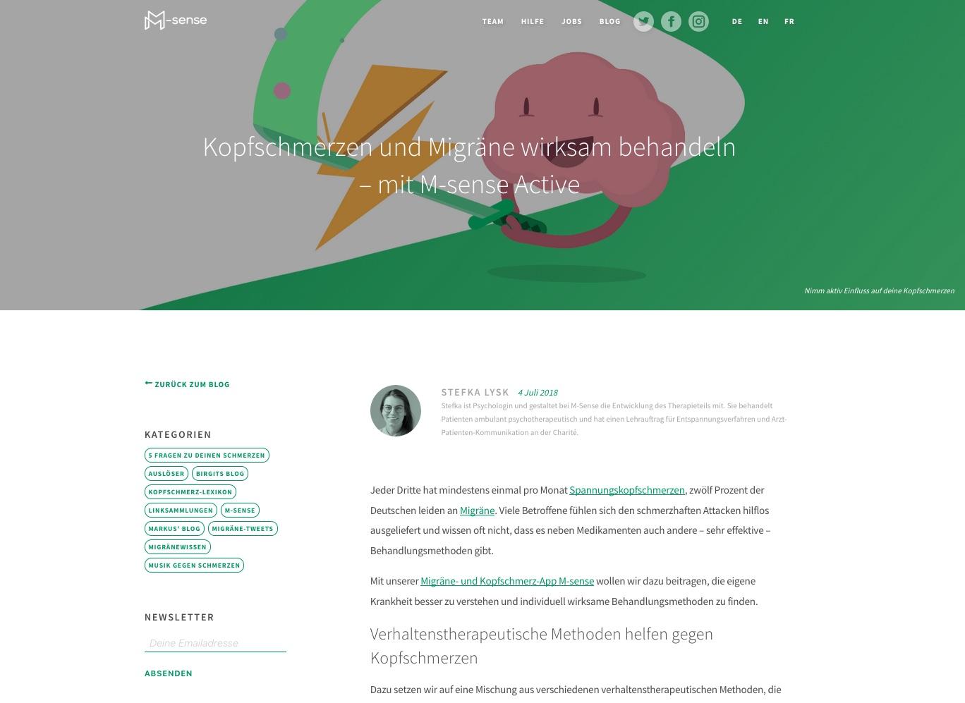 M-sense Screenshot. harité und M-sense starten innovatives Projekt zur Migränetherapie
