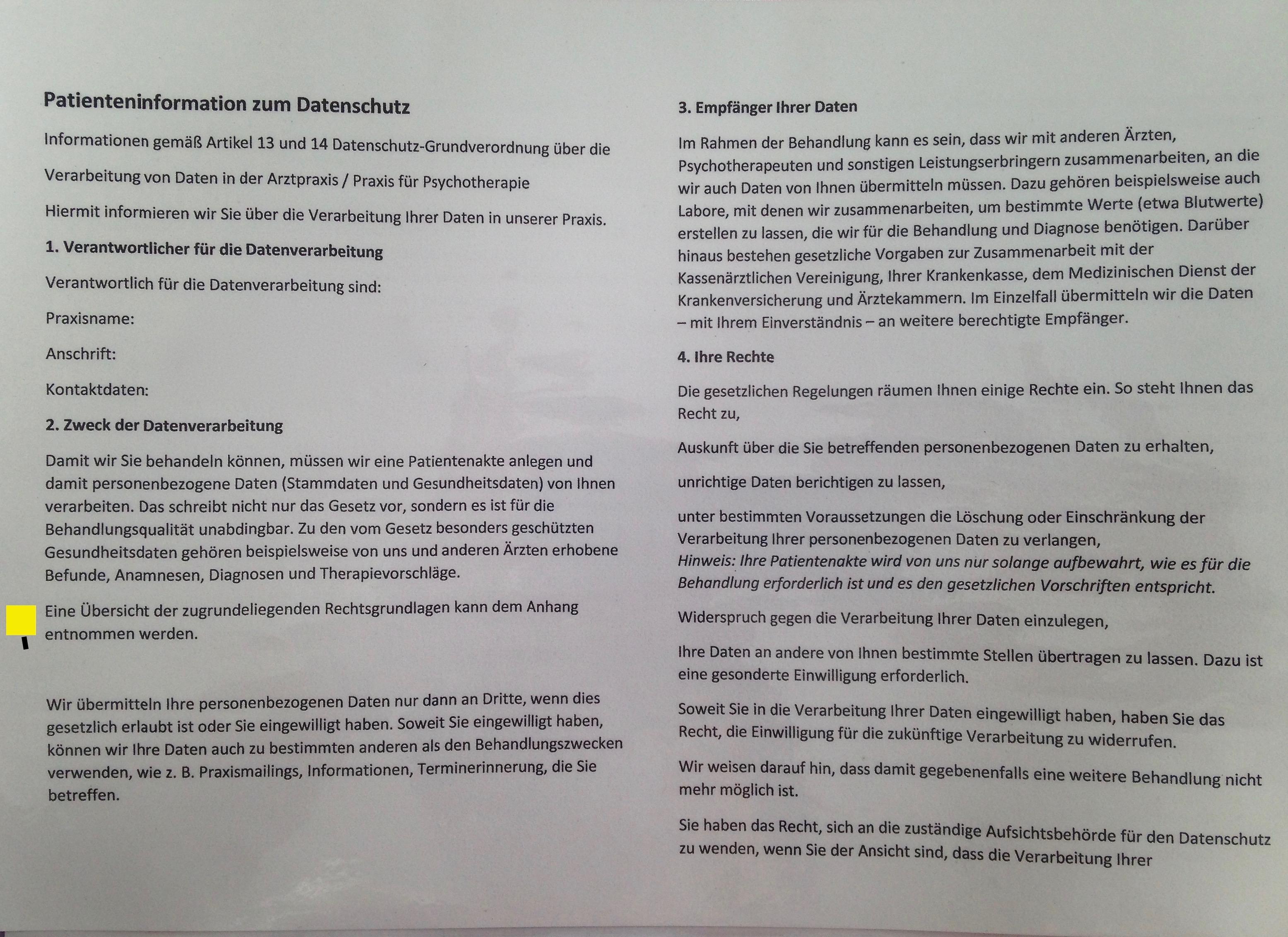 DSGVO Infoblatt Arztpraxis
