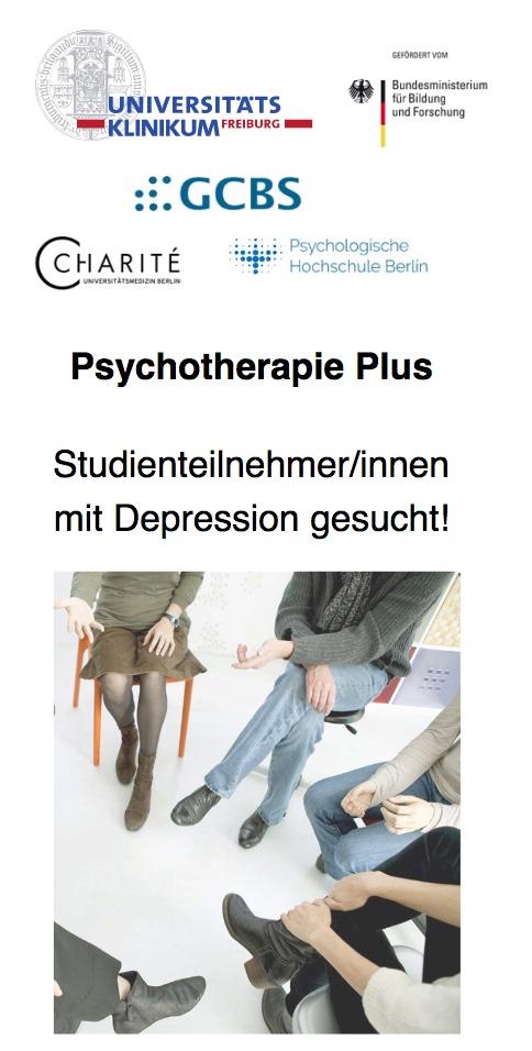 Foto vom Flyer Psychotherapie Plus Studie Uni Freiburg