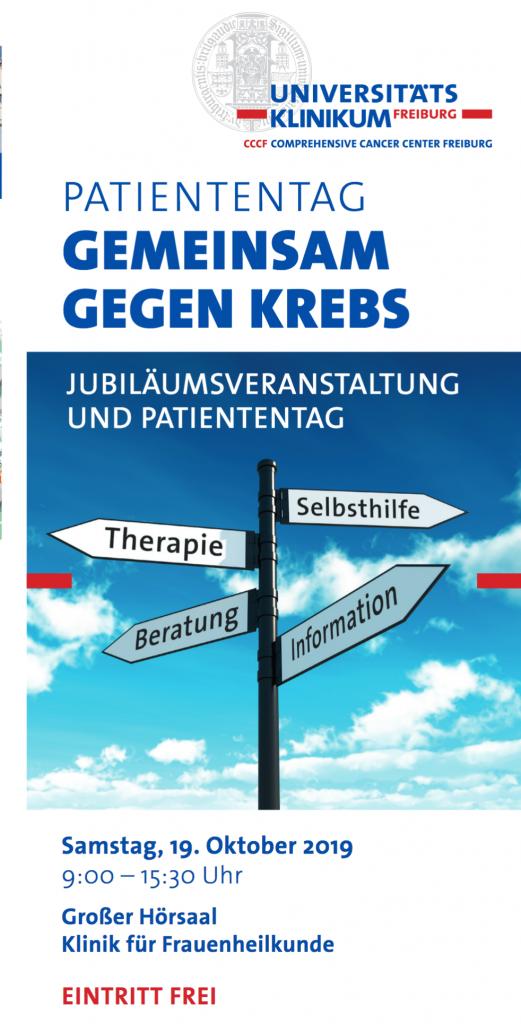 Patiententag: Gemeinsam gegen Krebs. Programmflyer der Uniklinik Freiburg