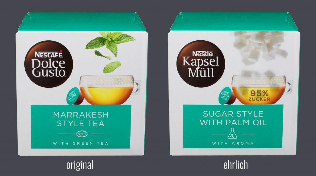 Das Foto zeigt Dolce gusto von Nestlè. Links das Original und rechts mit dem wahren Inhalt von 95% Zucker