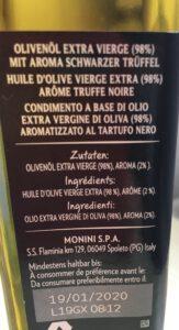 Olivenöl mit Trüffel, aber nur Aroma, kein echter Trüffel