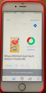 Das Foto zeigt den Scan zu den Inhaltsstoffen von Milupa Milchbrei für Babys 6 M
