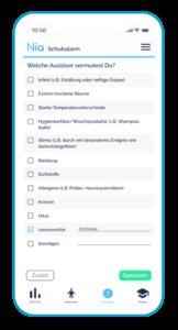 Gezeigt werden die einzelnen Funktionselemente der App